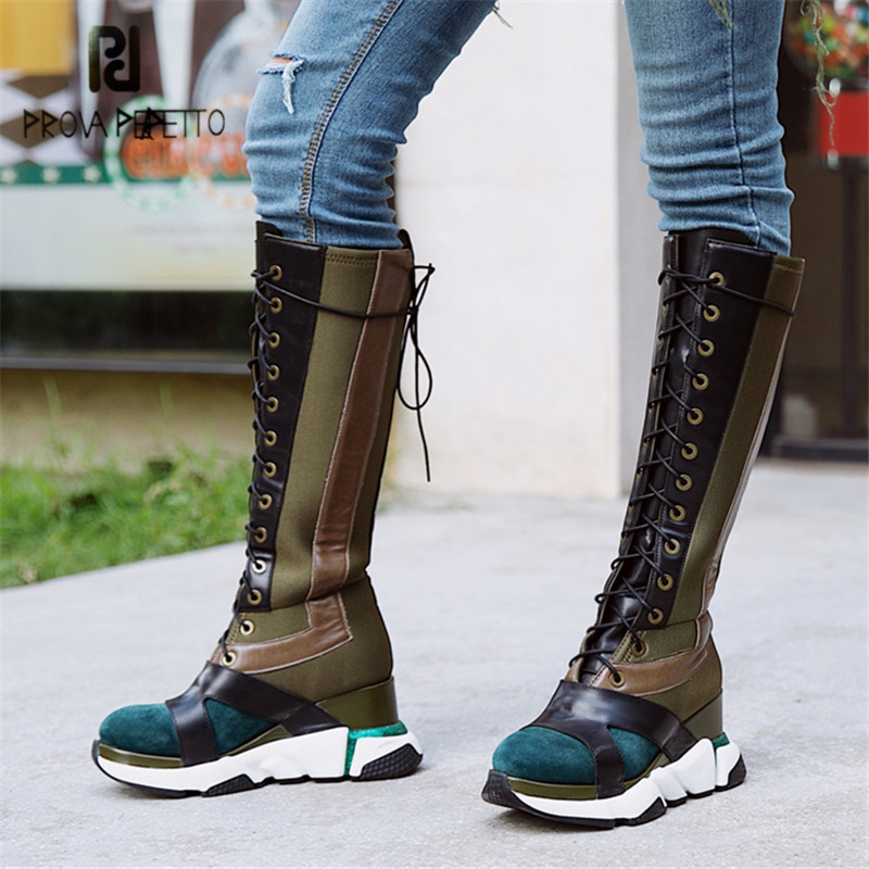 Prova Perfetto Women Knee High Boots Female Lace Up High Boots Platform Wedge Shoes Woman Autumn