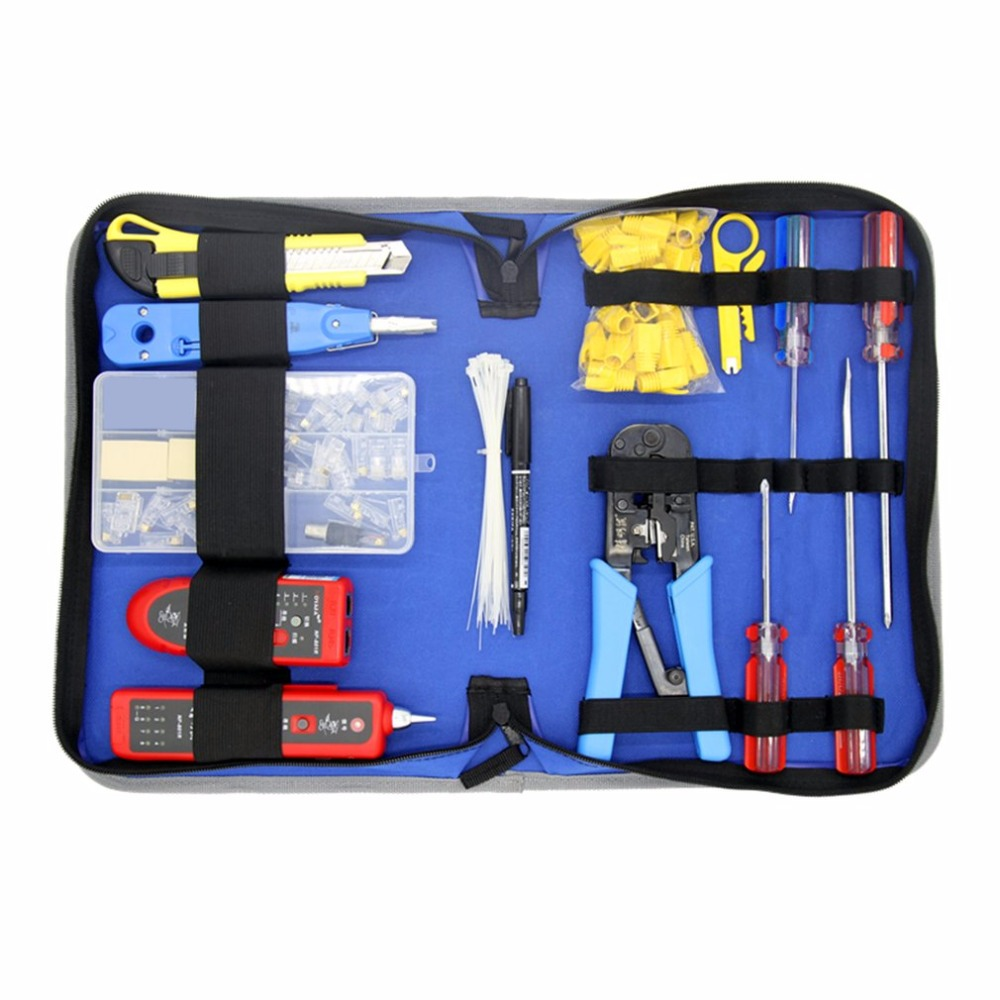 NOYAFA NF-1507 Network Repair Tool Kit Wire Tracker NF-801 Punch Down Tool Crimping Tool Wire Stripper Screwdrivers Tool Set Bag pz0 5 16 0 5 16mm2 crimping tool bootlace ferrule crimper and 1k 12 awg en4012 bare bootlace wire ferrules