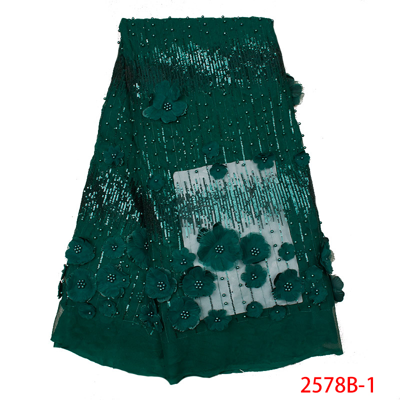 2019 3d Lace Fabric High Quality African Lace Fabrics Nigerian French Tulle Mesh With Sequins And Beads KS2578B-1