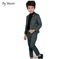 Kids Wedding Suit Baby Korean Style Formal Suit Boys Gentlemen Blazer Pants 2 Pcs Clothes Sets