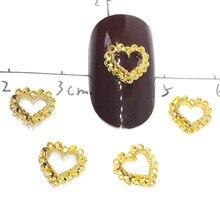 Heart Gold Nail Art Decorations 3d Kawaii Studs hollow Charms manicure Decors Bling Nailart Supplies metal Ornaments Design Diy недорого