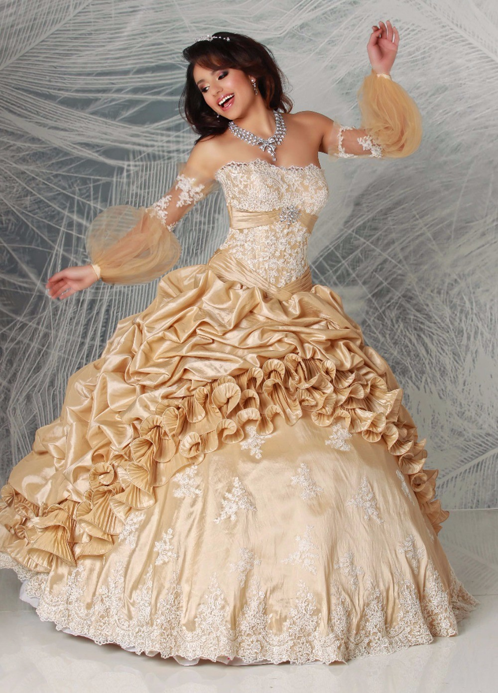 Vintage-Champagne-Ball-Gown-Quinceaneara-Dresses-2016-Detachable-Long-Sleeves-Taffeta-Girls-Sweet-15-16-Party