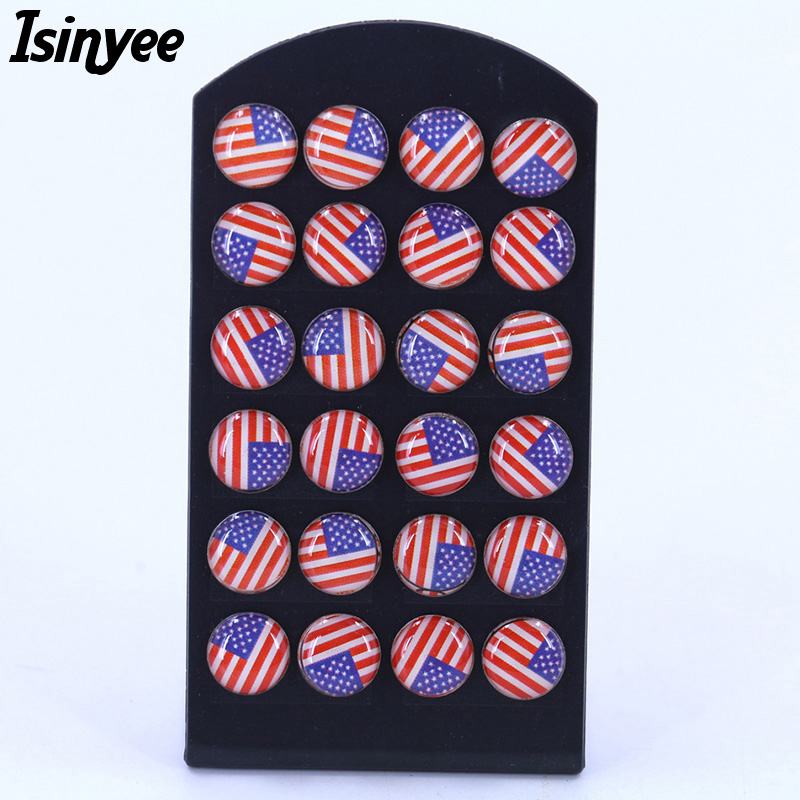 ISINYEE 12 Pairs/set Fashion UK USA American Flag Stud Earrings Set Small Round Enamel Earrings Jewelry For Women Girls Kids