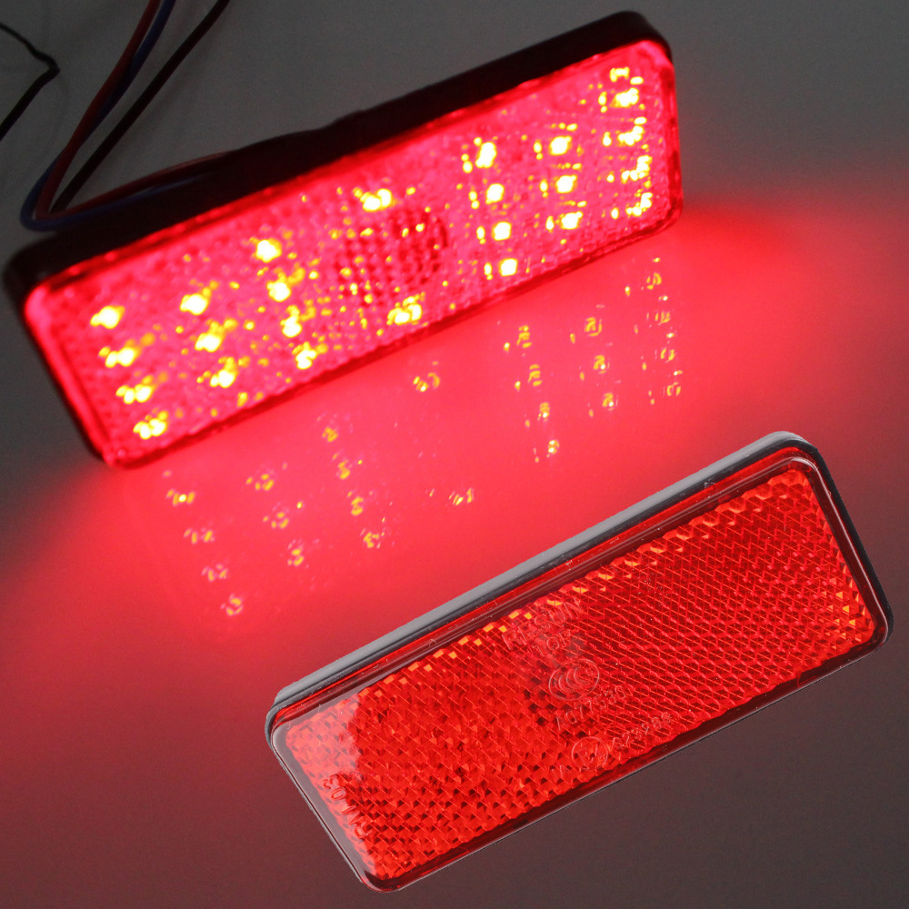 2x Universal LED Reflector Red Rear Tail Brake Stop Marker Light For SUV Truck Trailer Motorcycle Car 1 piece red rectangle red len led reflectors brake light universal motorcycle brake light car brake lights moto stop light