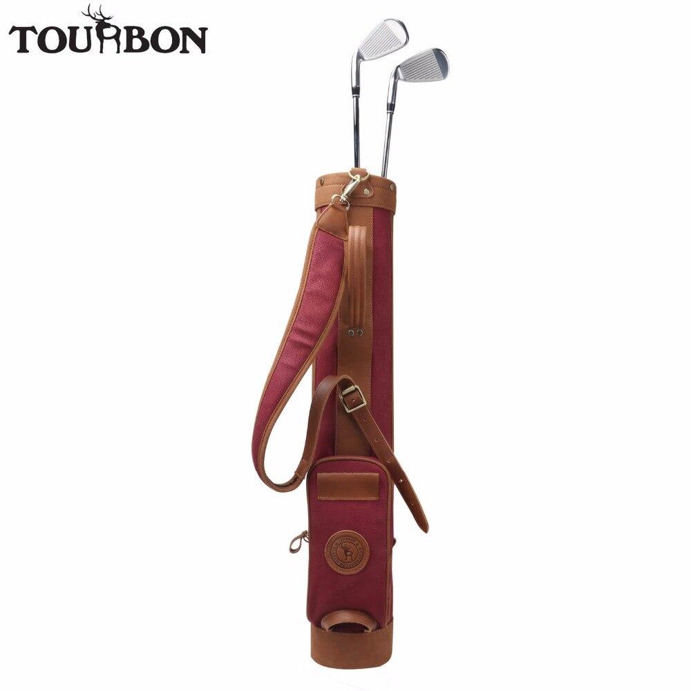 купить Tourbon Vintage Golf Club Bag Pencil Style 24oz Canvas & Leather Golf Gun Carrier Interlayer Cover 78CM Wine Red Sunday Bag по цене 9246.98 рублей