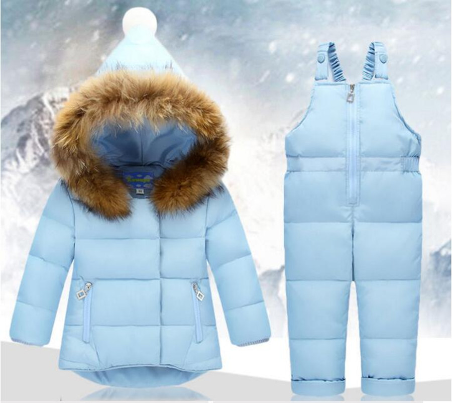 New Winter Children Clothing Sets Jumpsuit Snow Jackets+bib Pant 2pcs Set Baby Boy Girls Duck Down Coats Jacket With Fur Hood