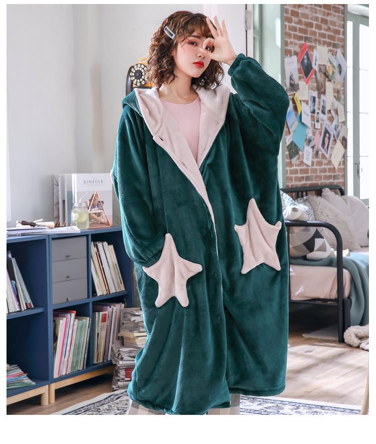 Womens Robes Coral Velvet Star Thicken Nightgowns Winter Bathrobe Women Pajamas Bath Flannel Warm Robe Girl Lovely Sleepwear