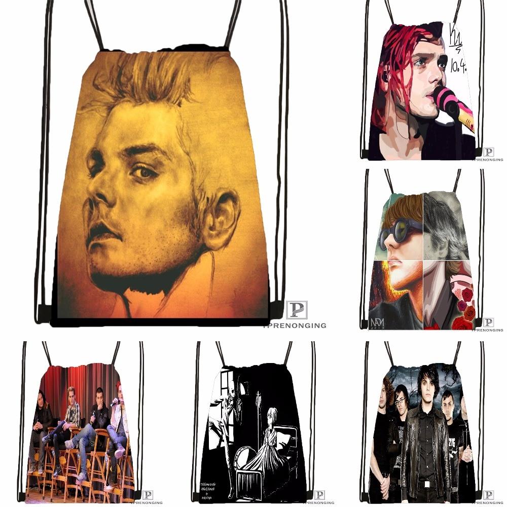 4cb6fc2cc7b6 Custom Gerard Way My Chemical Romance походная сумка на шнурке милый рюкзак  для детей (черная спинка) 31x40 см #180531-04-24