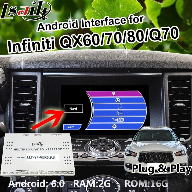 Android 6.0 Box di navigazione GPS per il periodo 2014-2018 Infiniti QX60/70/80/Q70 Interfaccia video con WIFI waze Mirrorlink OEM Manopola di Controllo