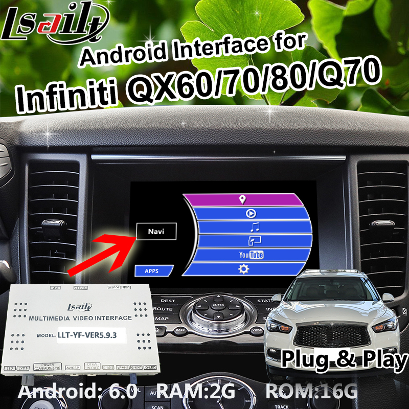 Android 6.0 Box di navigazione GPS per il periodo 2014-2018 Infiniti QX60/70/80/Q70 Interfaccia video con WIFI waze Mirrorlink OEM Manopola di Controllo
