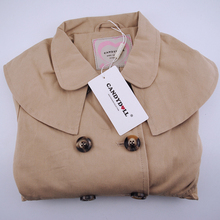 12M-6TCANDYDOLL girl's coat of spring&autumn pure color cotton double-breasted middle child's coat of bowknot lovely jacket&coat цена