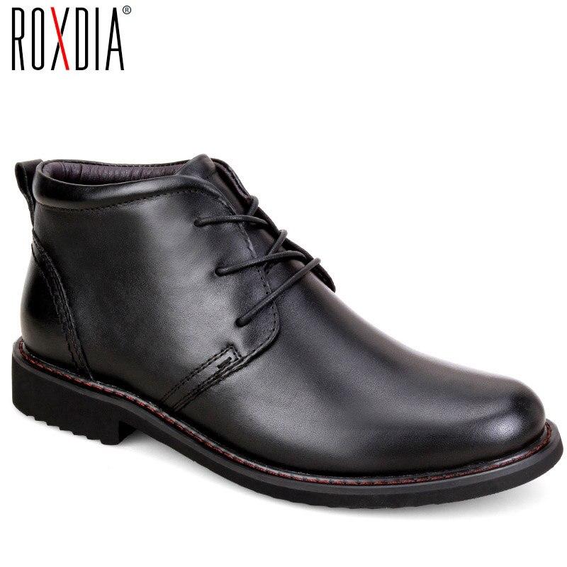 ROXDIA echtem leder stiefel männer plus größe 39-45 schnee winter arbeit kleid schuhe männlichen für herren stiefeletten mit fell schwarz RXM049