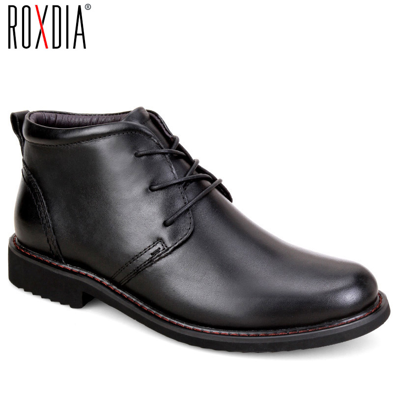 ROXDIA genuine leather boots men plus size 39-45 snow winter work dress shoes male for mens ankle boots with fur black RXM049
