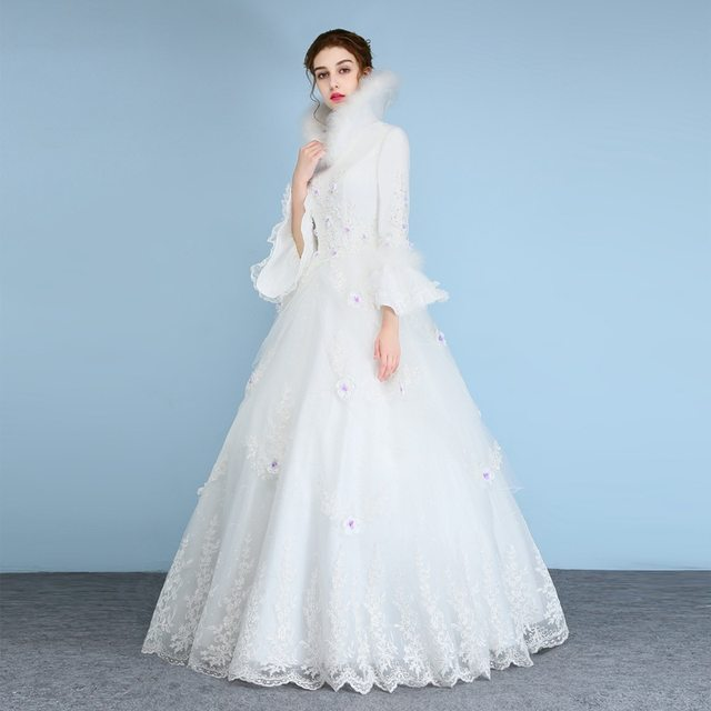 Online Shop Luxury Feather Wedding Dresses 2018 New Arrival Winter ...