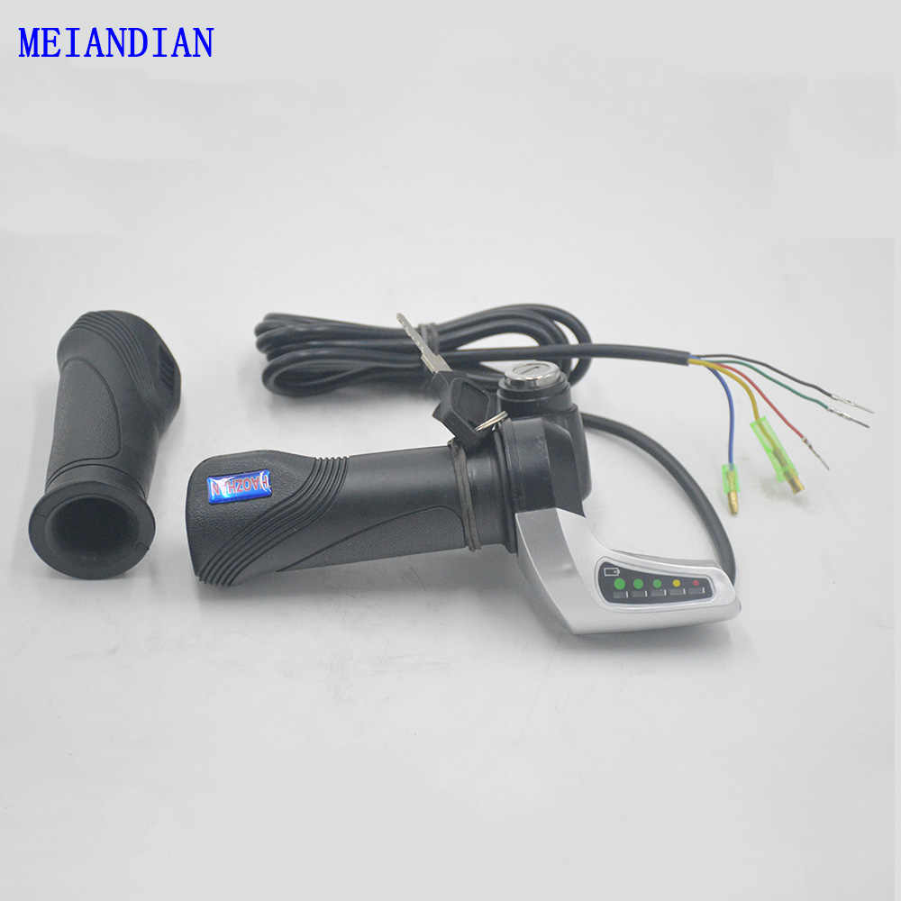 Electric Bike Throttle Speed Adjustment Handle with Key Lock Display Handle Divides  Fittings into 24V 36V 48V