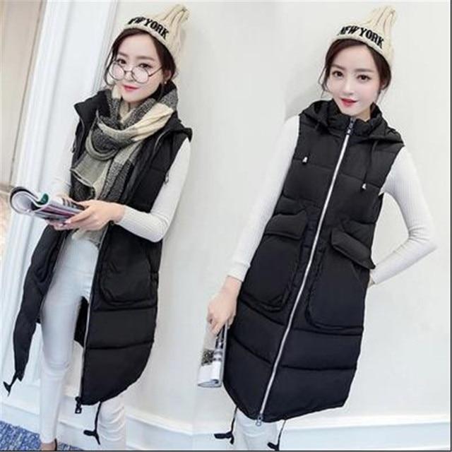 2016 New Winter Fashion Loose Big Yards Down Cotton Vest Coat Women Slim Hooded Leisure Warm Medium-long Vest Outerwear A1731
