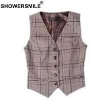 SHOWERSMILE Women Suit Vest Plaid Coffee Spring Summer Ladies Short Waistcoat Female Sleeveless Jacket British Style Clothing