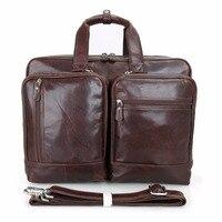 Augus High Grade Quality Cow Leather Handbag Large Capacity Multi Pockets Business Brifecase Travelling Crossbody Bag 7343C