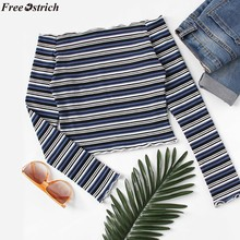 cbbbb2dfb1750e (Ship from US) FREE OSTRICH Women s One-Shoulder Long Sleeve T-Shirt Off- Shoulder Striped tops Casual Fashion Slim Shirt Sweater plus size