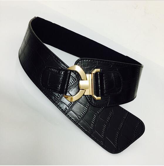 2016 Nuevo ancho de metal Elástico Hebilla Cinturones para Las Mujeres se Visten Accesorios Retro Cintura Cinturón de cuero Negro de Invierno accesorios