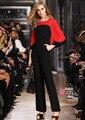 Qa231 estrela estilo elegante cor patchwork mulheres bolso manga flare sexy mostrar jumpsuit playsuit romper