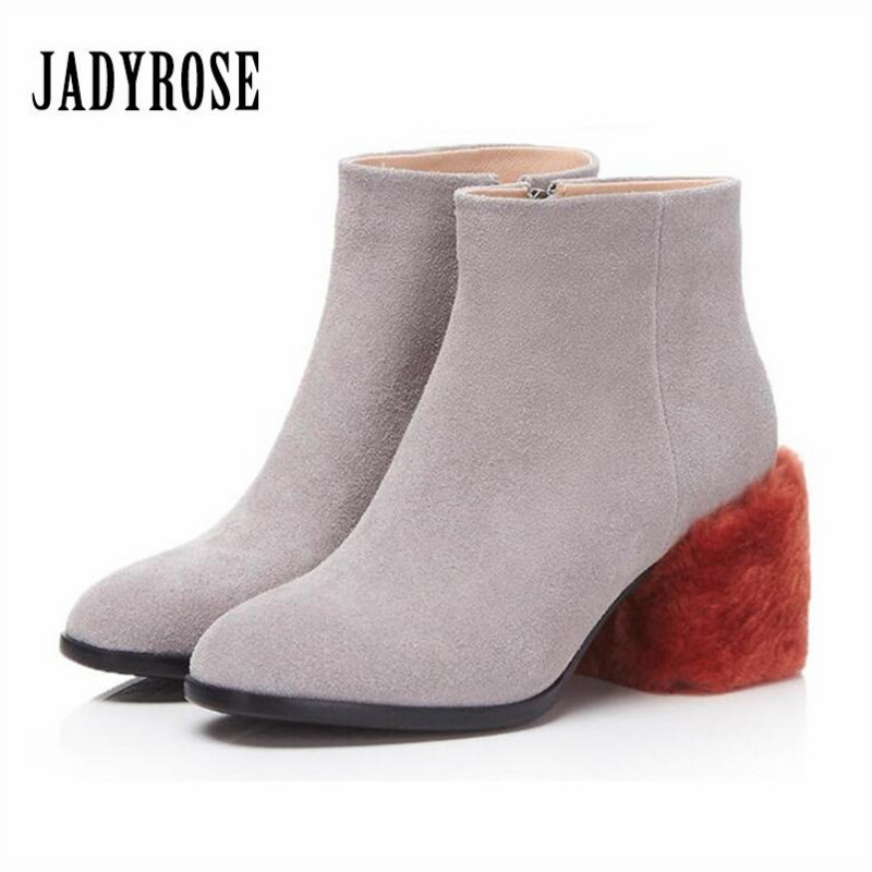 где купить Jady Rose 2018 New Suede Ankle Boots for Women Designer Fur Chunky High Heel Botas Mujer Autumn Shoes Woman Ladies Rubber Boot по лучшей цене