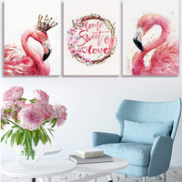 Three Watercolor Swan Canvas Painting with Frames Wall Art Poster Print Nordic Bedroom Decoretion