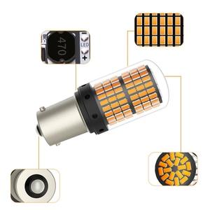 Image 3 - 1 個T20 led 7440 W21W W21/5 ワットled canbus電球 144smd 1156 P21W led BA15S PY21W BAU15S 1157 BAY15Dランプターン信号光