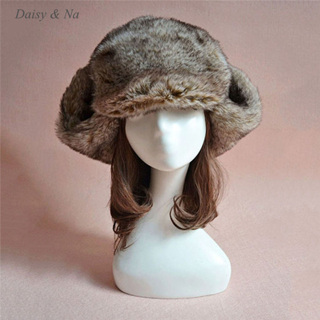 Daisy & Na Winter Unisex Mens Ladies Faux Fur Warm Ski Ushanka Russian Cossack Trapper Hat 014