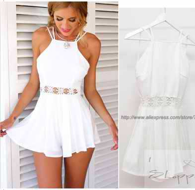 Women White Cami Playsuit Skirt Shorts Cut Out Backless Sexy