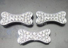 100 pcs/lot 10 мм стразы жевательная кость скользящий подвески , пригодный для 10 мм домашнее животное собака cat воротник