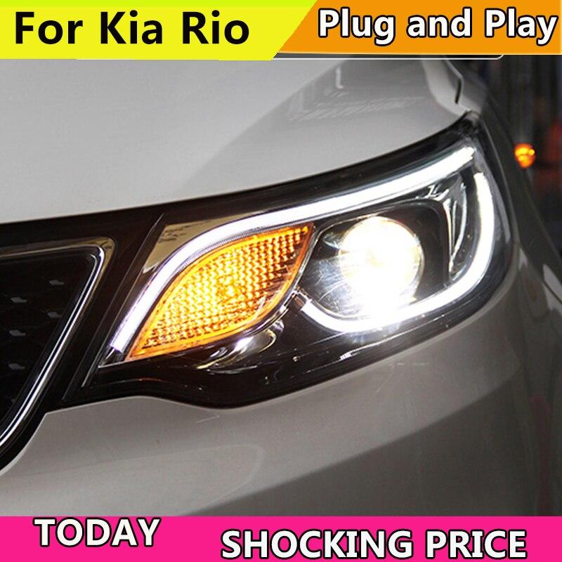 Car Styling Head Lamp Case For Kia Rio Headlights 2015-2018 LED K2 Headlight LED DRL Bi Xenon Lens High Beam Parking Fog Lamp akd car styling for ford focus headlights 2009 2011 focus 2 led headlight drl bi xenon lens high low beam parking fog lamp