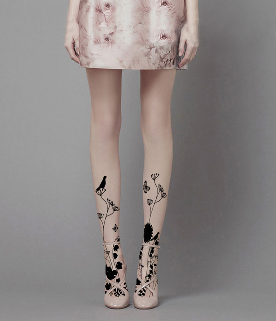 Sweet and elegant pastoral silhouette flowers and birds printed stockings personality  pantyhose summer female girl women tigths