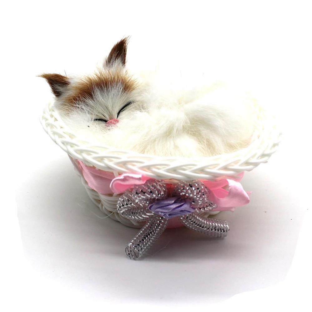 1 buc Simulare Pisici de dormit Pisici Jucarii de pluș Copii cu coș - Jucării moi și plușate