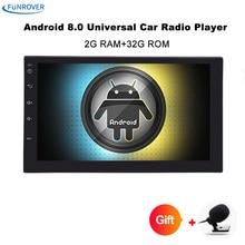 Funrover 7 «2 Din Android 8,0 автомобильный Радио Универсальный gps навигации Bluetooth авторадио FM стерео аудио нет DVD 110 мм размер один din