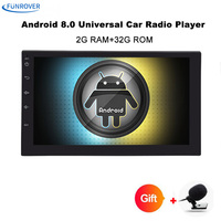 Funrover 7 2 Din Android 8.0 Car Radio Universal GPS Navigation Bluetooth Autoradio Stereo FM Audio No DVD 110mm size one din