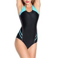 New Women Sport One Piece Swimsuit Geometric Professional Athletic Swimwear Female Bodysuit Monokini Beach Swimming Suit