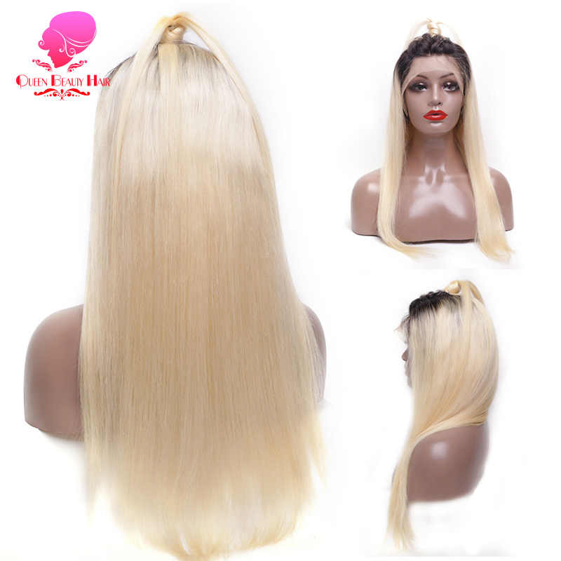 13X6 1B 613 Rambut Pirang Ombre Warna Remy Brasil Lurus Wig Panjang Digunakan Dipetik Tanpa Glueless Tanpa Renda Depan Rambut Manusia wig untuk WANITA HITAM