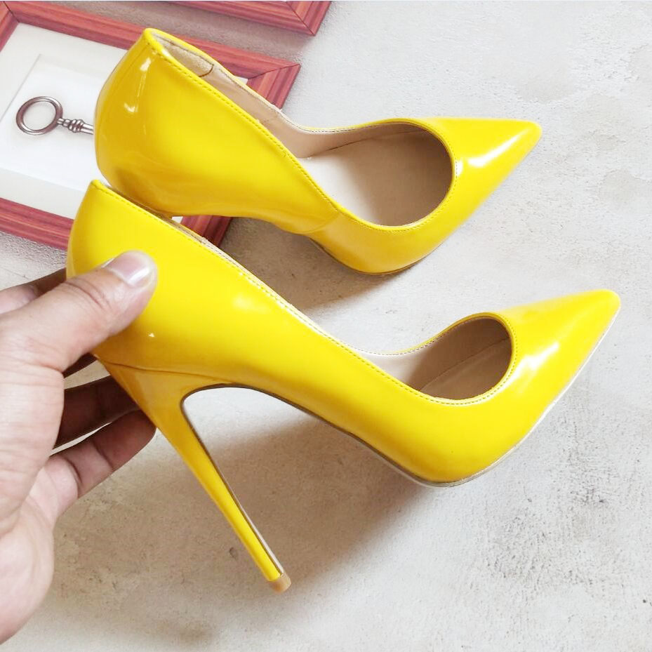 12cm Pompa Gialle Donne Scarpe Moda Tacchi Di Signore Da Alti Sposa Yellow Delle byf6gvY7