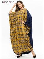 Zing Grid Casual Women Bat Sleeve Dress Muslim Abaya Kimono Long Gowns Ramadan Middle East Islamic Prayer Clothing Plus Size