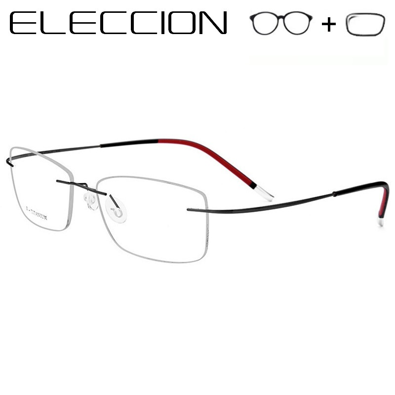 Pure Titanium Prescription Glasses Men Myopia Eyeglasses Women Rimless Square  Frame Comfort and Lightness Screwless Eyewear - Memang Store a233f84b22a9