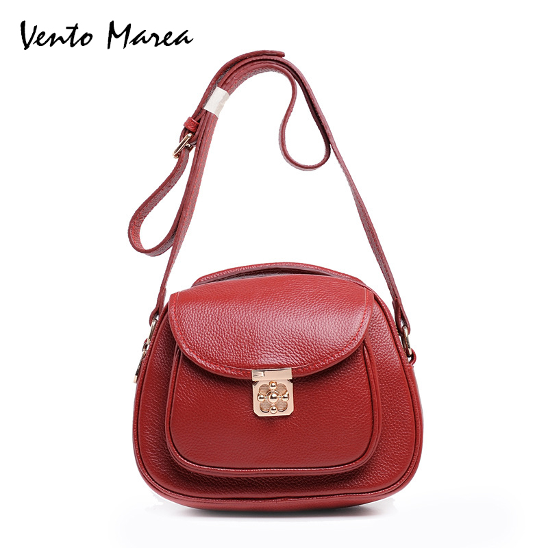 Vento Marea Genuine Leather Roomy Women Messenger Bags Cowhide Candy Color Woman Real Skin Bag Ladies Crossbody Handbags classic women messenger bags genuine leather bucket crossbody shoulder handbags ladies top layer cowhide casual real skin 0102