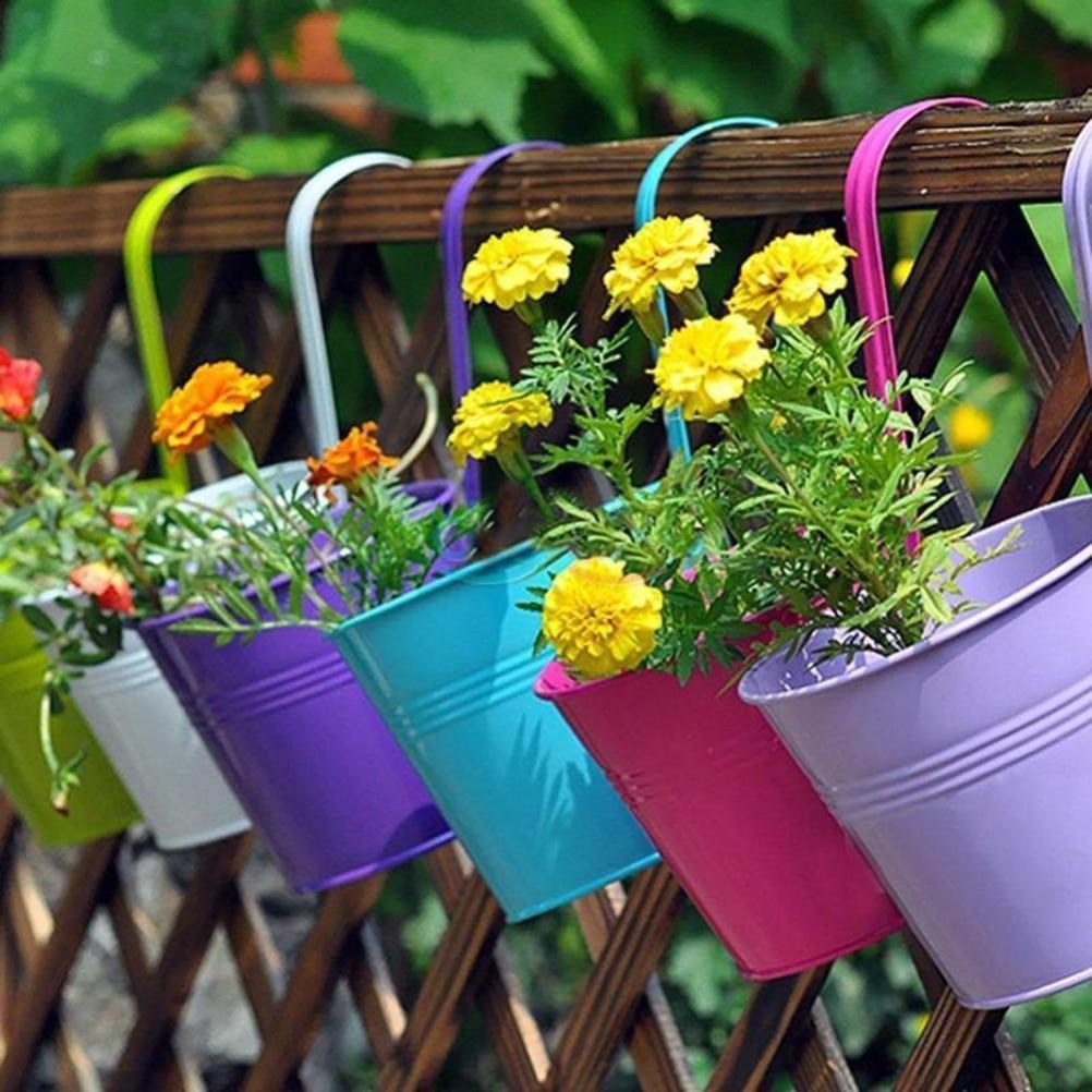 1pcs Metal Bucket Flower Hanging Pot Balcony Garden Pots Plant Flower  Holders Decoration Supplie Bucket Flower