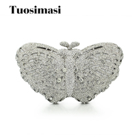 Handcraft Diamond Evening Bag Silver Luxury Clutch Bag Butterfly Party Purse Women Crystal Wedding Bag Day Clutches Handbags