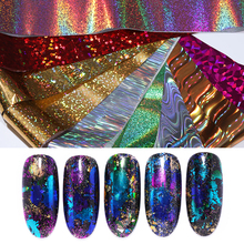 1Roll Nail Foils Holographic Colorful Transfer Stickers Art Design Decoration 100 Patterns for Choose