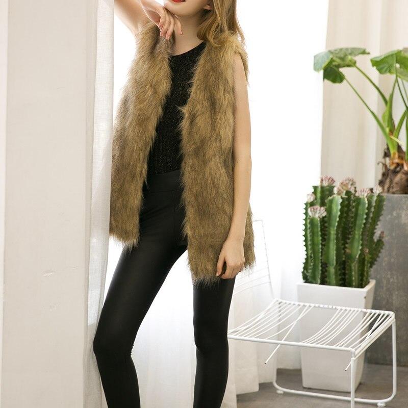 a217636b98ded Winter Faux Fur Vest Gilet Fourrure Rabbit Fur femme Vest Outwear Long Coat  Special Slim Ladies Coats of Fur Brown Plus Size