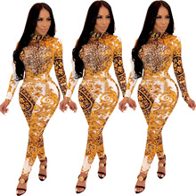 2019 New Women Stand Neck Gold Floral Paisley Vintage Printed Open Back Sexy Skinny Bodycon Jumpsuit Rompers Outfit GLD9090