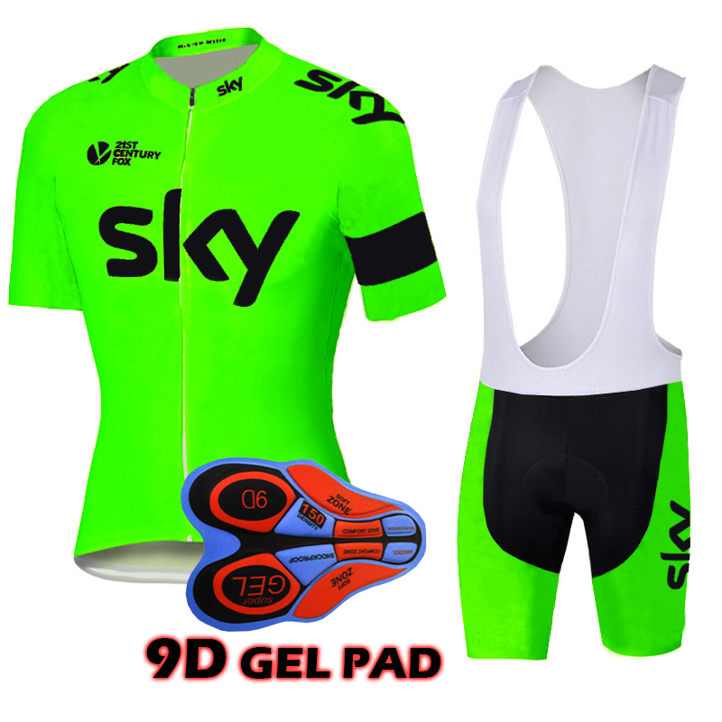 Fluorescenza Colori Estate 2018 cielo ciclismo set di abbigliamento bike cycling jersey set roupa ciclismo Pro Cycling Jersey Set