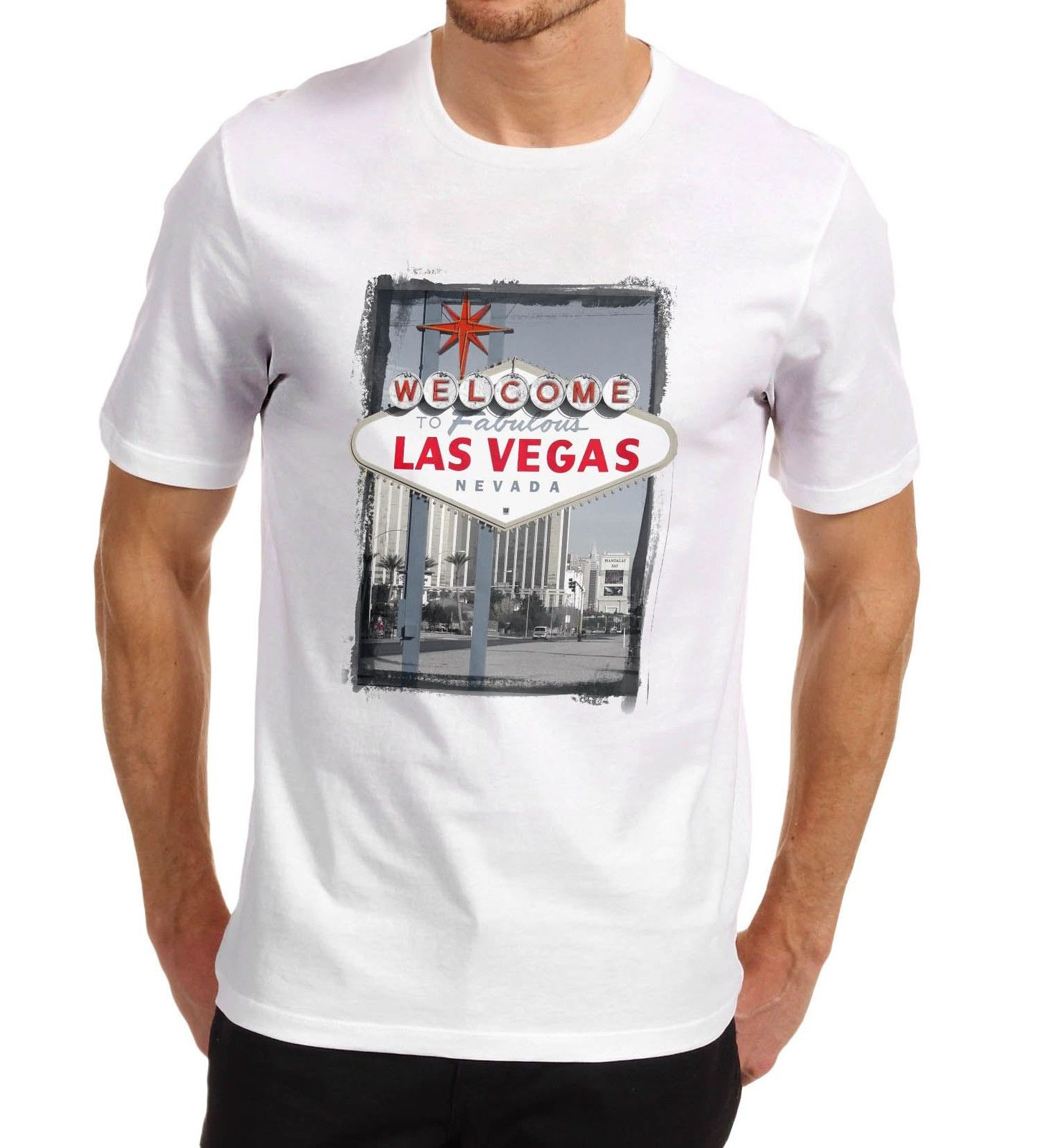 Design your own t shirt las vegas - Design T Shirt Welcome To Las Vegas Iconic Sign Printed O Neck Short Sleeve Office Mens Tee