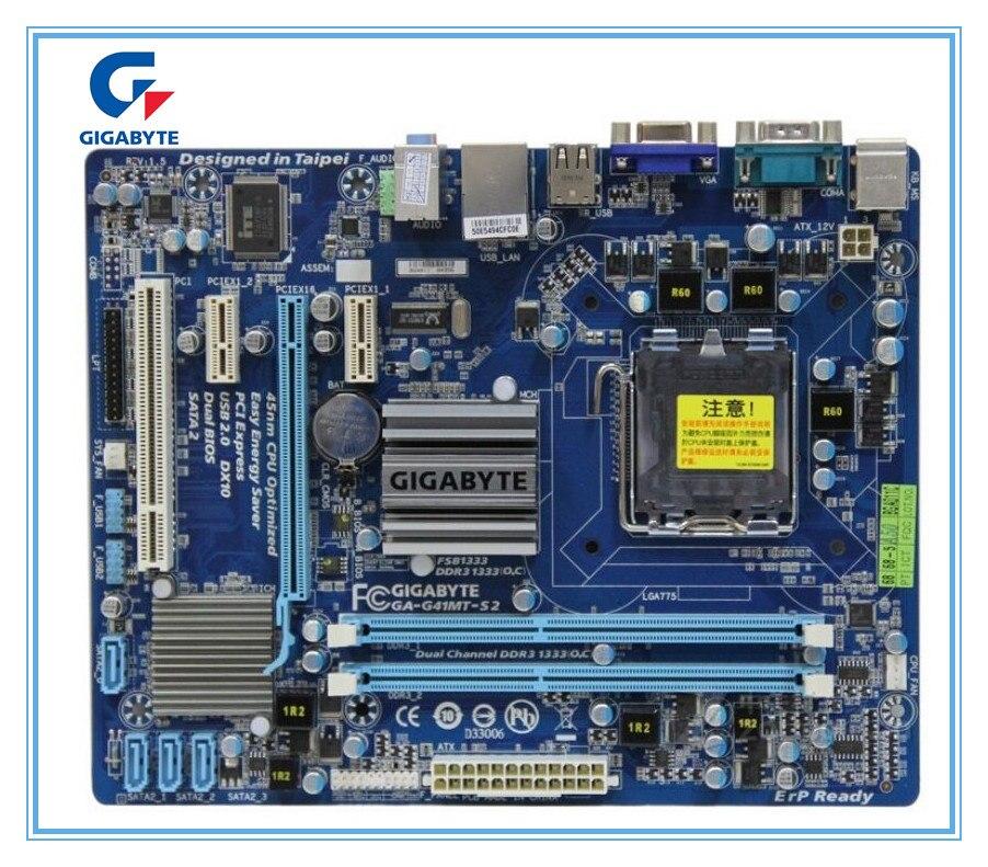 Área de trabalho Motherboard GIGABYTE GA-G41MT-S2 G41 Soquete LGA 775 para intel Core 2 DDR3 8G Micro ATX Mainboard G41MT-S2 Originais